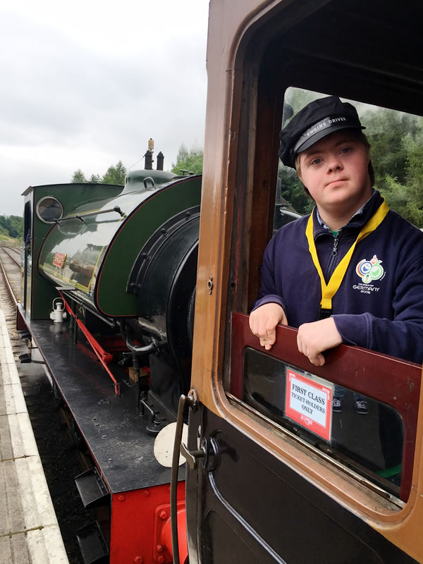 Corvin 'driving the steam train' at Bolton Abbey