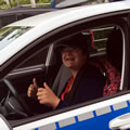 Another of our group, Klaudia Partyka, in the all electric VW police car at Göttingen police station