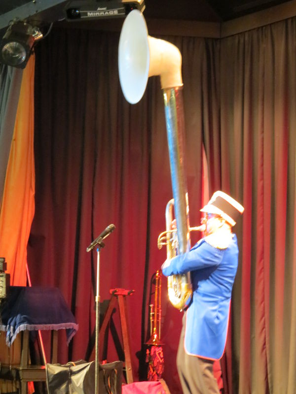Billy Bedlam with tall instrument
